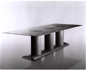KOLOPHON  Table. Maunufacturer ; Brueton. Material; Steel, White Imron. Design ; Stanley Jay Friedman, ca. 1990