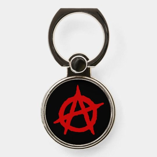 Red Anarchy Symbol On Black Phone Ring Stand Anarchy Anarchist Revolution Rebellion Disorder Chaos Confusion Unrest Ring Stand Phone Ring Phone Grips