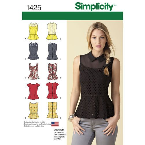 Misses' Peplum Tops with Neckline Variations: