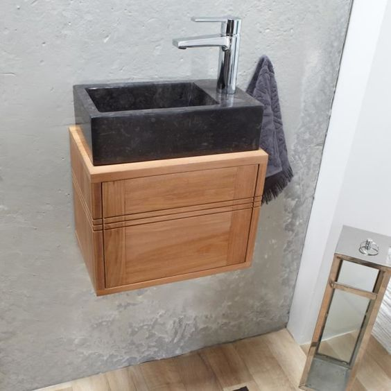 meuble lave main suspendu en teck basic. Black Bedroom Furniture Sets. Home Design Ideas