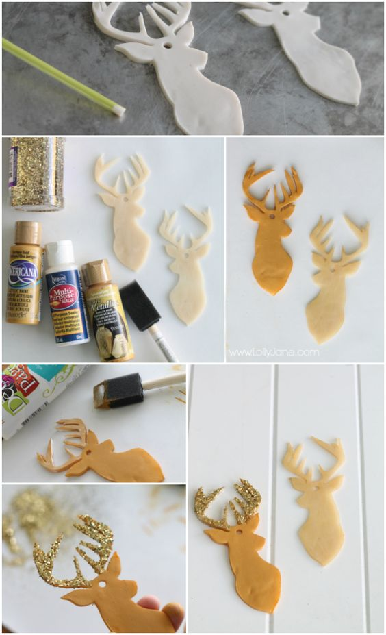 How to make clay deer head ornaments tutorial via lollyjane.com: