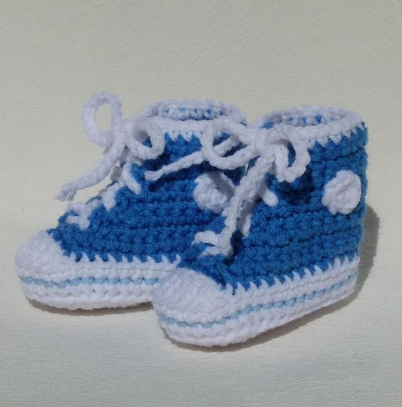 Crochet Baby Booties High Top Converse Style Pattern : Blue high tops, Converse style and High top sneakers on ...
