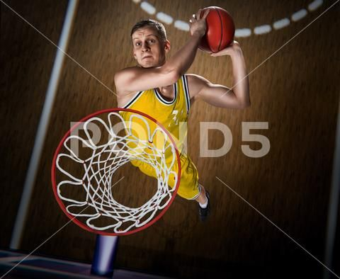 Basketball Player Making Slam Dunk On Basketball Arena Stock Photos Ad Making Slam Basketball Player Slam Dunk Basketball Players Slam Basketball