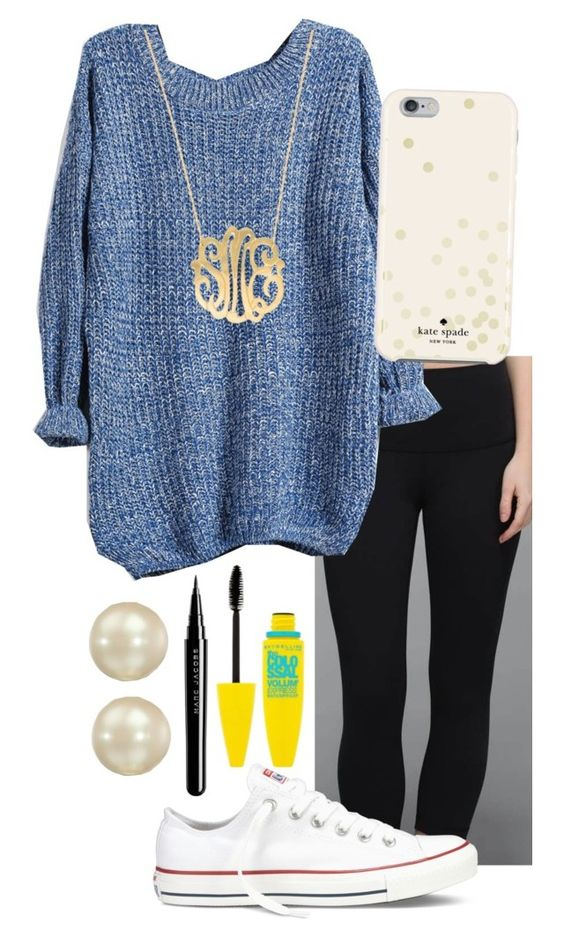 """"" by soccerlover14 ❤ liked on Polyvore featuring lululemon, Kate Spade, Converse, Carolee, Moon and Lola, Marc Jacobs and Maybelline"