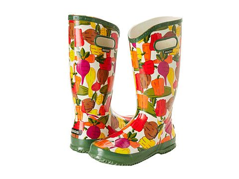 Veggie boots that would be great for working in the garden with the kids as well as walking in the rain.  Zappos, $80.00.  #rainboots See more rain boots at  easystyleformoms.com.
