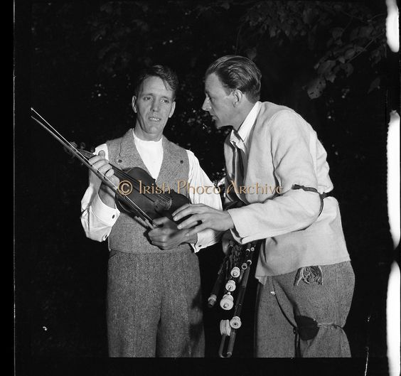 Seamus Ennis and Fiddle player at Iveagh Gardens - 1900 Period Dress.03/04/1957