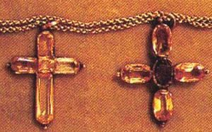 Jane & Cassandra Austen's crosses on display in  Hampshire. Jane's is on the right.