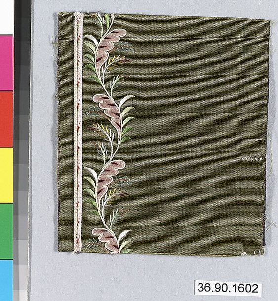 Sample Date: early 19th century Culture: French Medium: Silk on silk Dimensions: L. 3 3/4 x W. 3 1/4 inches 9.5 x 8.3 cm Classification: Textiles-Embroidered Credit Line: Gift of The United Piece Dye Works, 1936