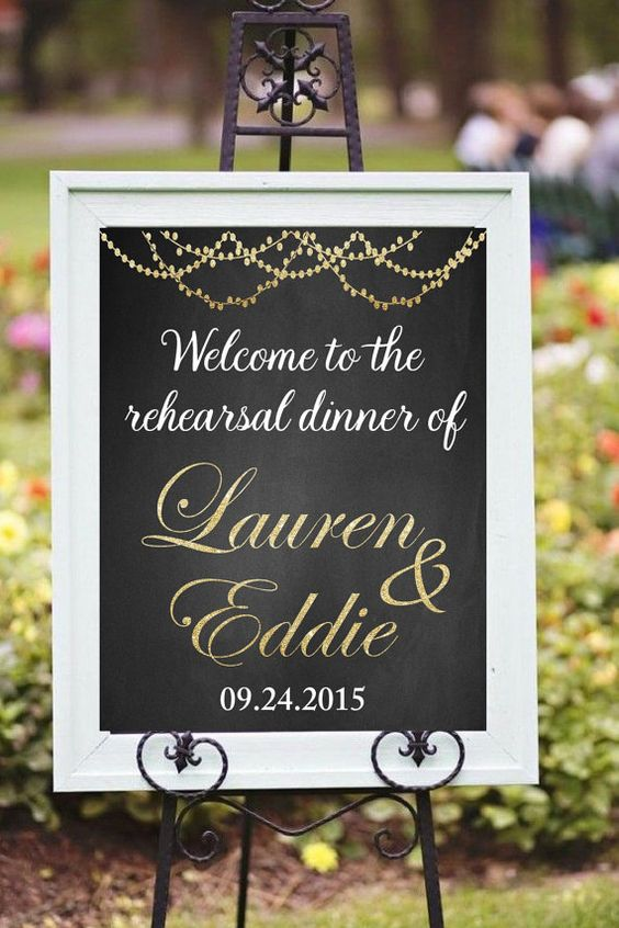 Printable Rehearsal Dinner Decor, DIY Printable, Welcome sign, custom printable, Chalkboard, Golden glitter sign, Wedding signs
