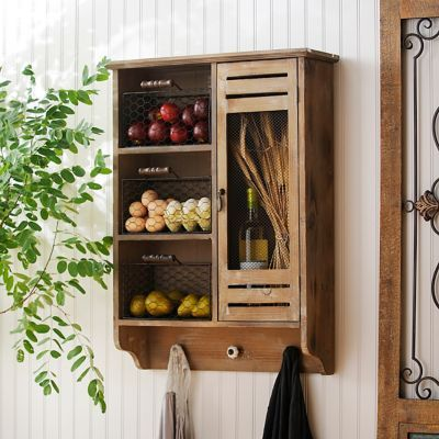 Wood wall cabinet with baskets and hooks hooks products for Bathroom decor kirklands