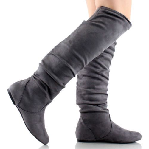 Details about Womens Thigh High Boots Over The Knee Slouch Flat ...