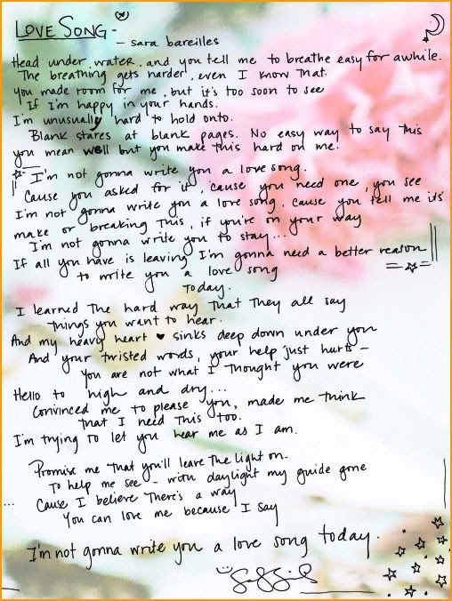 not gonna write you a love song lyrics Browse our lyrics and artists database alphabetically or simply search by keywordslyrics can be rated, heard using song videos and even translated to many common and not so common languages.