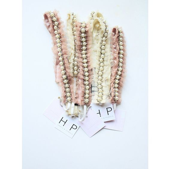 Pearl & rhinestone head-wraps. Ivory & blush pink. Adorable accessories. www.hartsandpearls.com  #hartsandpearls