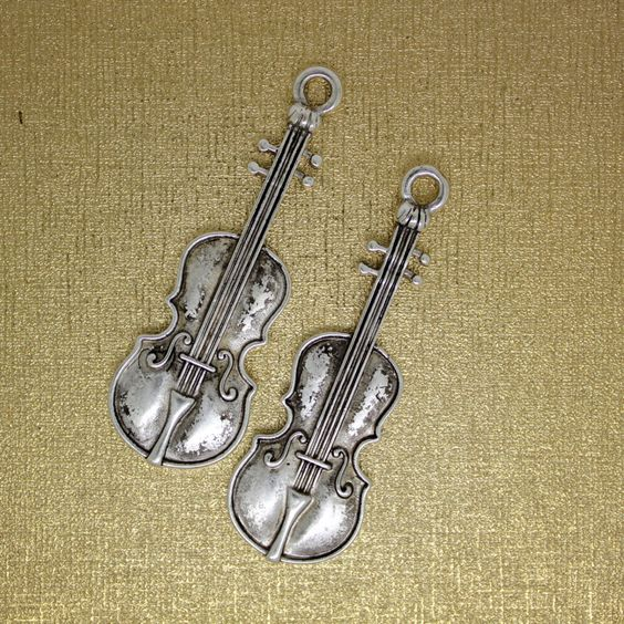 4 pc Violin Large charm, Antique SILVER Color. The Musical instrument Charm. by AgouraBeads on Etsy