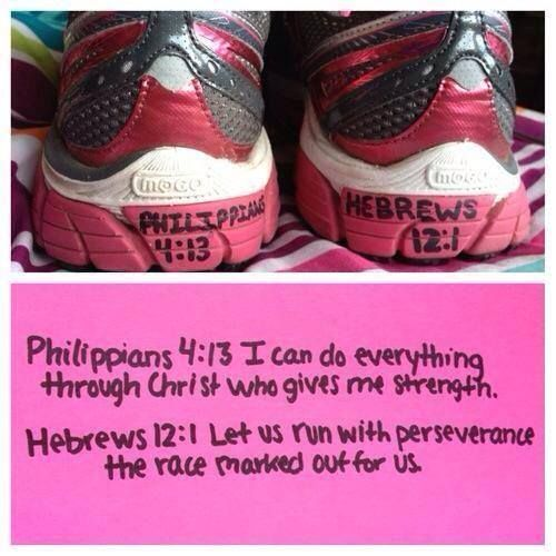 Doing Phil. 4:13 to all my sports shoes, and Heb. 12:1 to my track shoes.