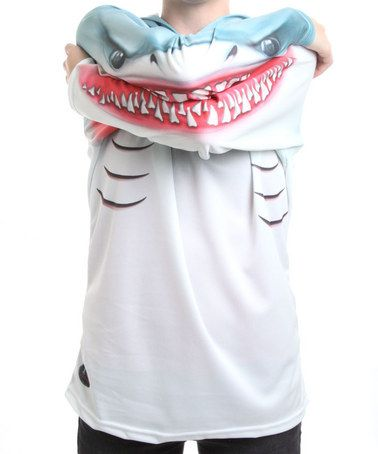 Take a look at this Shark Hooded Tee - Toddler & Kids  by Mouth Man on #zulily today! - I have this for my son- he LOVES it- one of his favorite shirts. They run a little small.