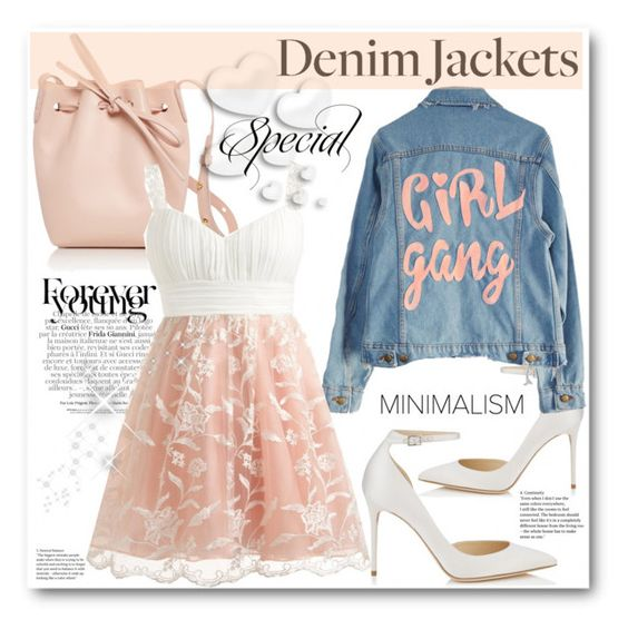 """""""Denim"""" by stranjakivana ❤ liked on Polyvore featuring Gucci, Mansur Gavriel, Jimmy Choo, High Heels Suicide and Valentino"""