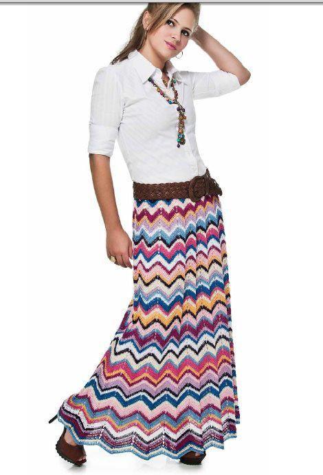 saia longa colorida