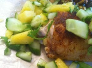 Broiled Chicken Thighs with Pineapple-Cucumber Salad | Dinner is ...