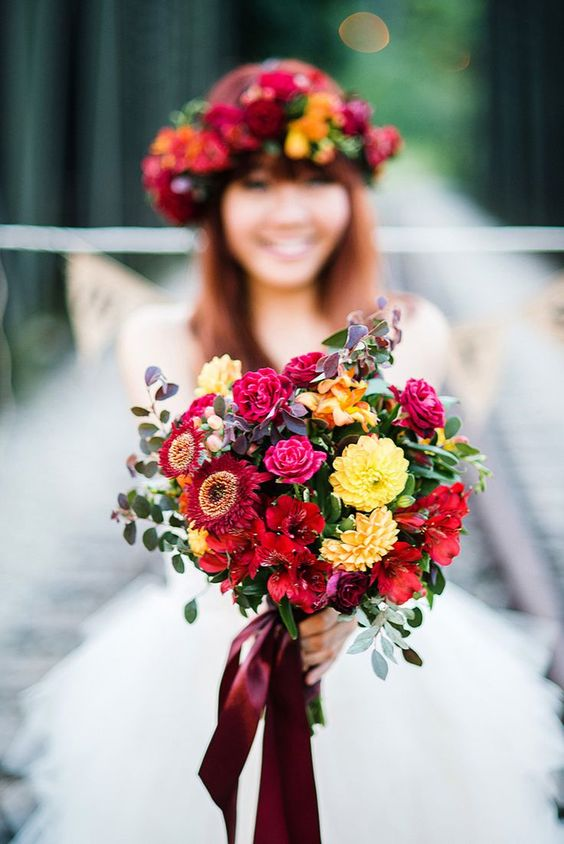 fiori sposa autunno borgogna