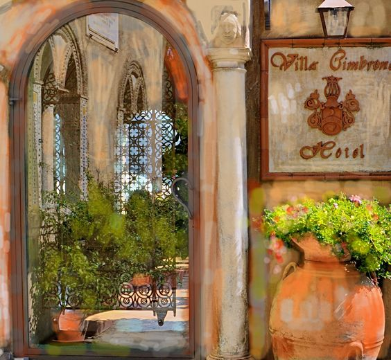 Painted entrance to Villa Cimbrone Hotel, Ravello by Deanna Masterson