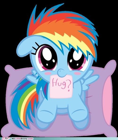 Hug the little Rainbow Dash: