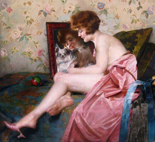Charles Joseph Watelet (Belgian, 1867-1954)  Looking at the Mirror