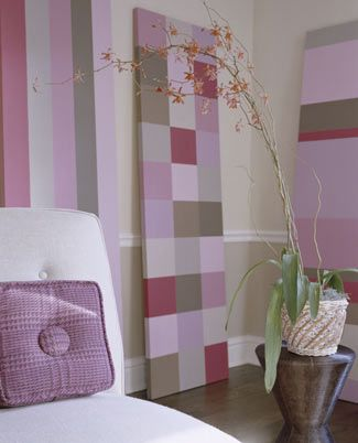 Fabric-Free Quilts...Rental Agreements  Don't know what to do with a no-paint clause in your apartment contract? Add a colorful stand-up quilt to your space by stretching canvas around a framework and painting squares in your favorite colors.