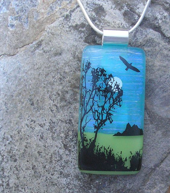 Nature+Pendant+Fused+Dichroic+Glass+Meadow+Necklace+by+JumpGlass,+$30.00