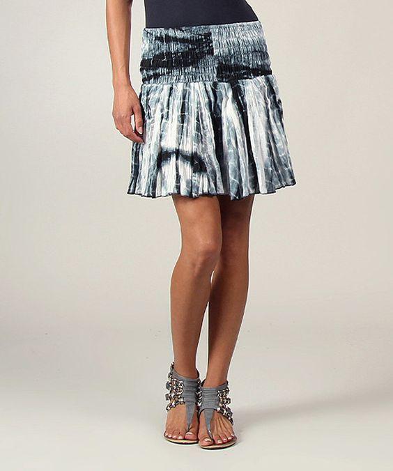 Look at this #zulilyfind! Black Tie-Dye Ruffle Skirt by Aller Simplement #zulilyfinds