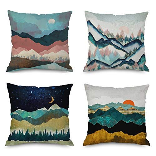 Heyhousenny Cartoon Landscape Mountains Decorative Watercolour Throw Pillow Covers Tree Cu Watercolor Throw Pillow Pillow Covers Decorative Throw Pillow Covers