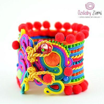Colorful Soutache Cuff by Ozdoby Ziemi: