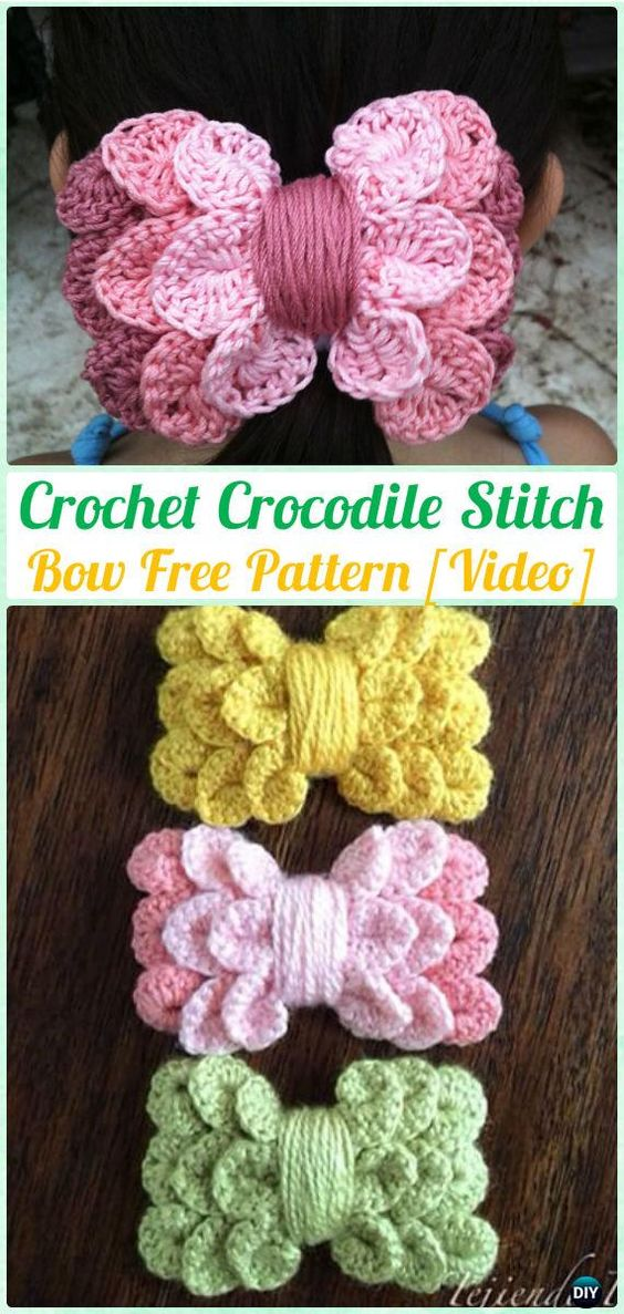 Crochet Crocodile Stitch Bow Free Pattern [Video]- Crochet Bow Free Patterns: