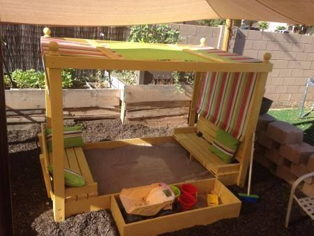Sandbox canopies and little ones on pinterest for Sandbox with built in seats plans