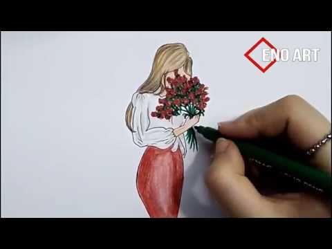 رسم سهل بنت تحمل باقة ورد خطوة بخطوة Youtube Girl Drawing Girl Drawings