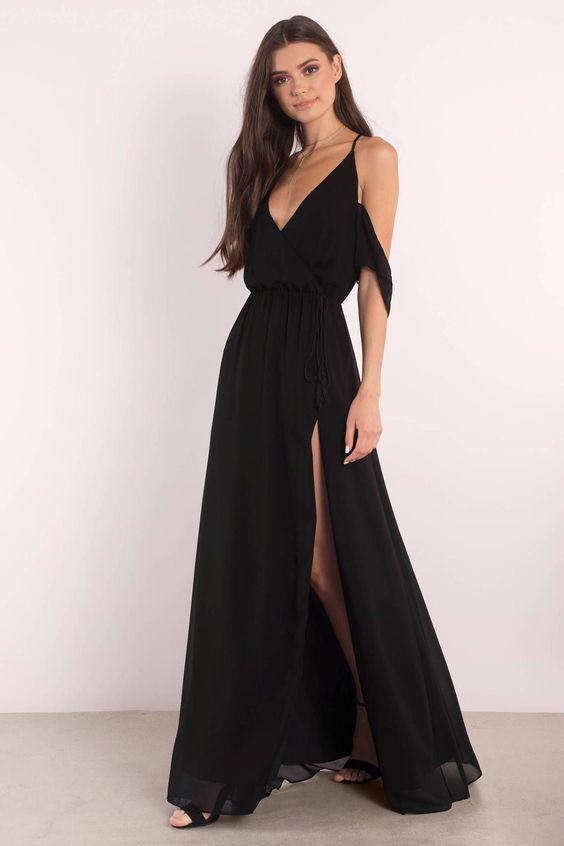 vestidos longos formais preto