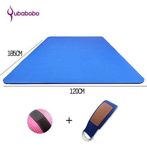 Qubabobo 1 2 Inch Extra Thick High Density Nbr Foam Exercise Double Yoga Mat With Carrying Strap Fitness Mat For Partner Yoga Pilates Gym 72 8 47 24 0 59 R Mat Exercises Workout Accessories