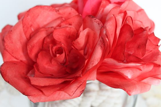 Coffee Filter Roses under 2 dollars to make
