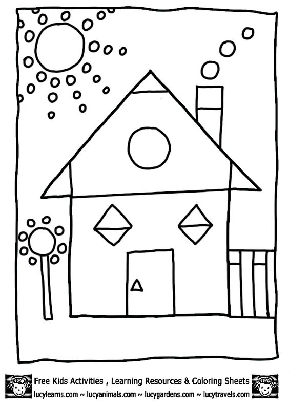 math coloring worksheets House Shapes Coloring Pages