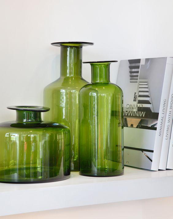 Green vases at H.Stern Home, Rio de Janeiro