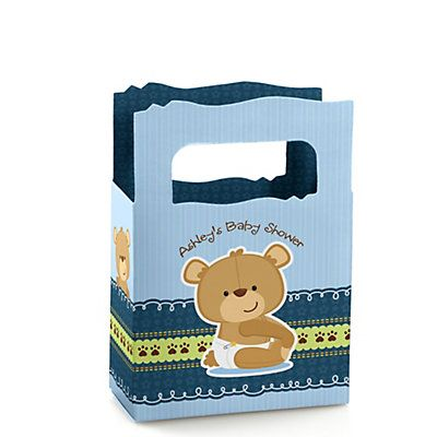 Baby Boy Teddy Bear - Personalized Baby Shower Mini Favor Boxes | BigDotOfHappiness.com