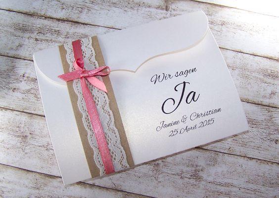 Einladung Hochzeit Vintage Spitze kraft rostrosa  Einladung zur ...