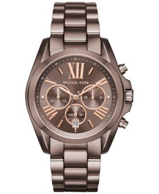 Michael Kors Women's Chronograph Bradshaw Sable Ion-Plated Stainless Steel Bracelet Watch 43mm MK6247 | macys.com