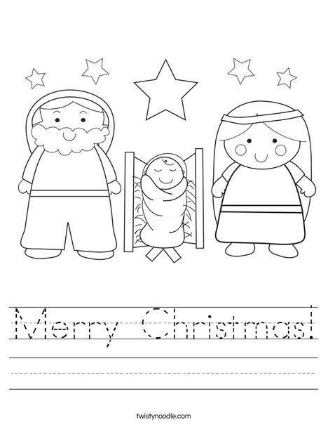 Free Worksheets preschool christmas worksheet : Merry Christmas Worksheet from TwistyNoodle.com | Teach Your ...