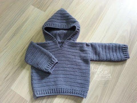 Tutorial Jersey Fácil Crochet Bebé Sweater Baby - YouTube ..★ Teresa Restegui http://www.pinterest.com/teretegui/ ★..