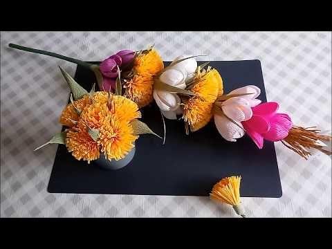 Kwiatek Z Krepiny Do Palmy Wielkanocnej Youtube Paper Flowers Crafts Flowers