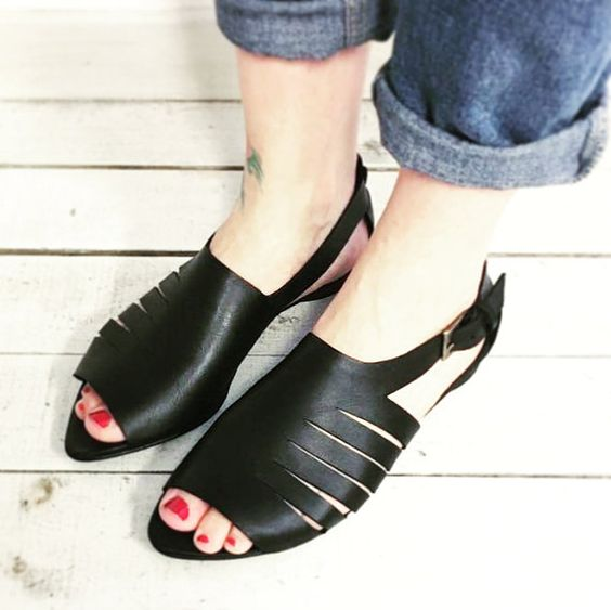 Sale 10% Leather Sandals Black Strapy Sandals Flat by abramey