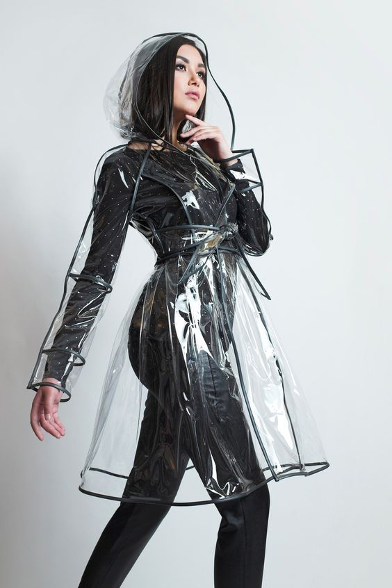 Clear Vinyl Belted Coat With Black Trim, See Through Plastic Trench Coat