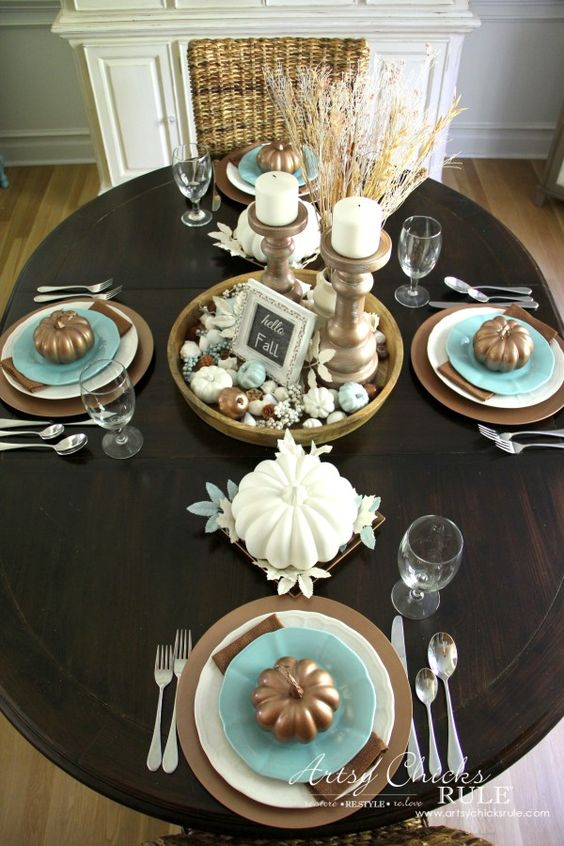Coastal Casual Fall Tablescape On A Budget Turquoise