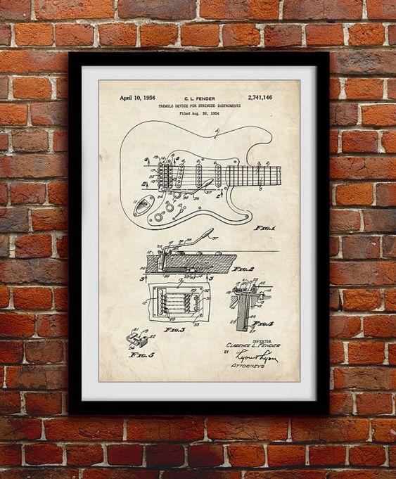 Original Fender Guitar 1956 Music Decor Patent Print